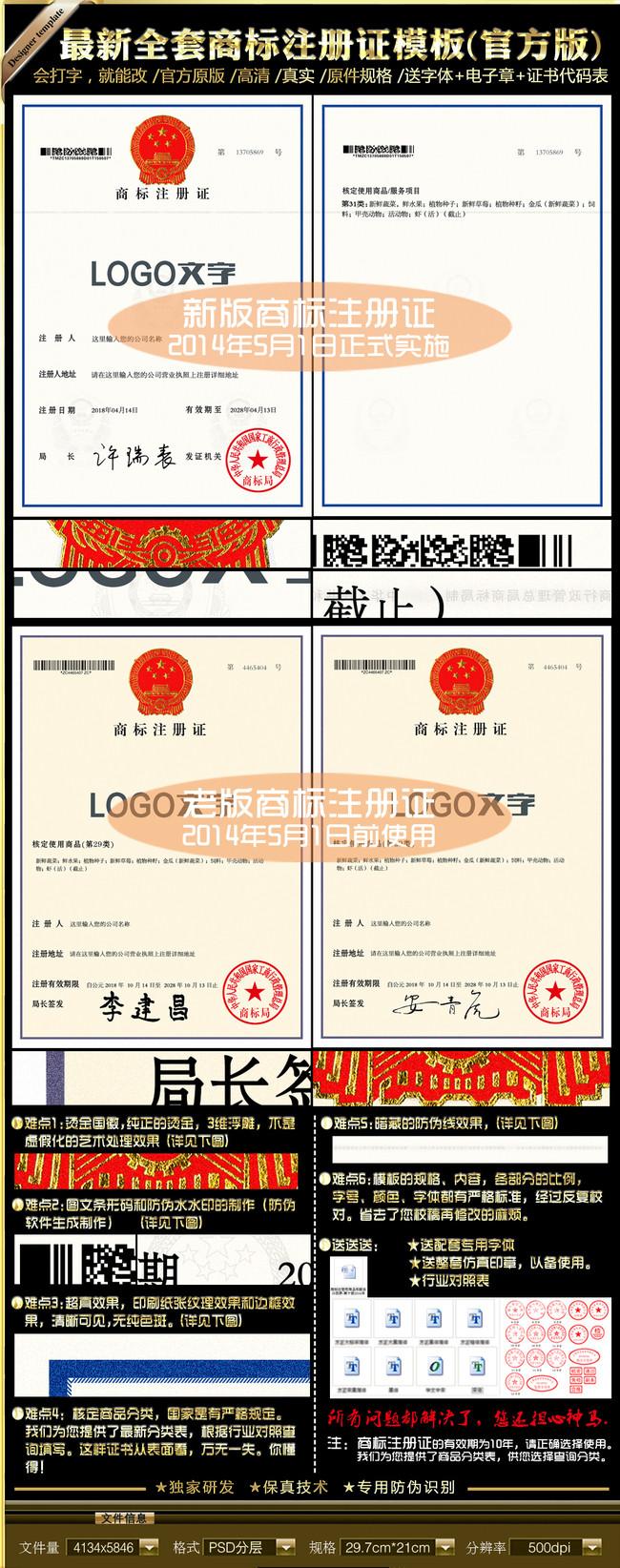 全套商标注册证模板