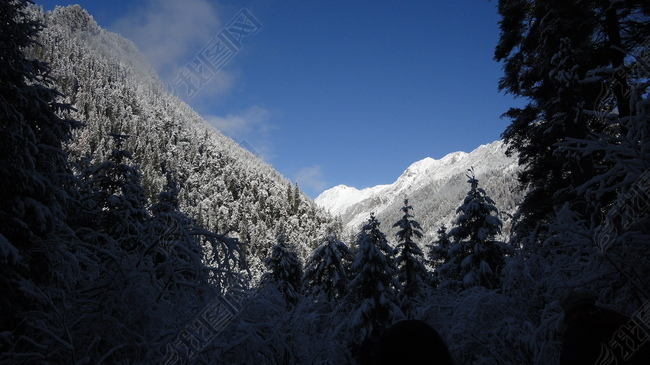 阳光交接处的雪山