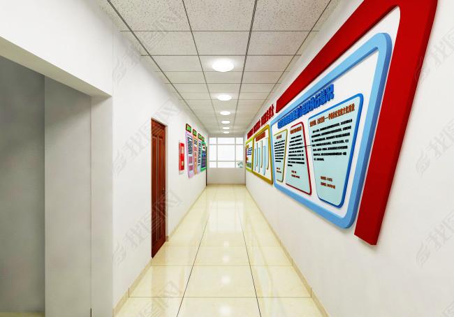 3D党建文化墙长廊展示效果图