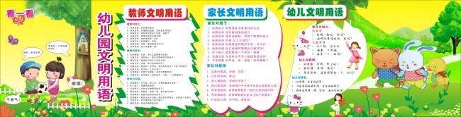 幼儿园文明班组计划_幼儿园文明用语展板(图片编号:1295948)_学校展板设计_我图网