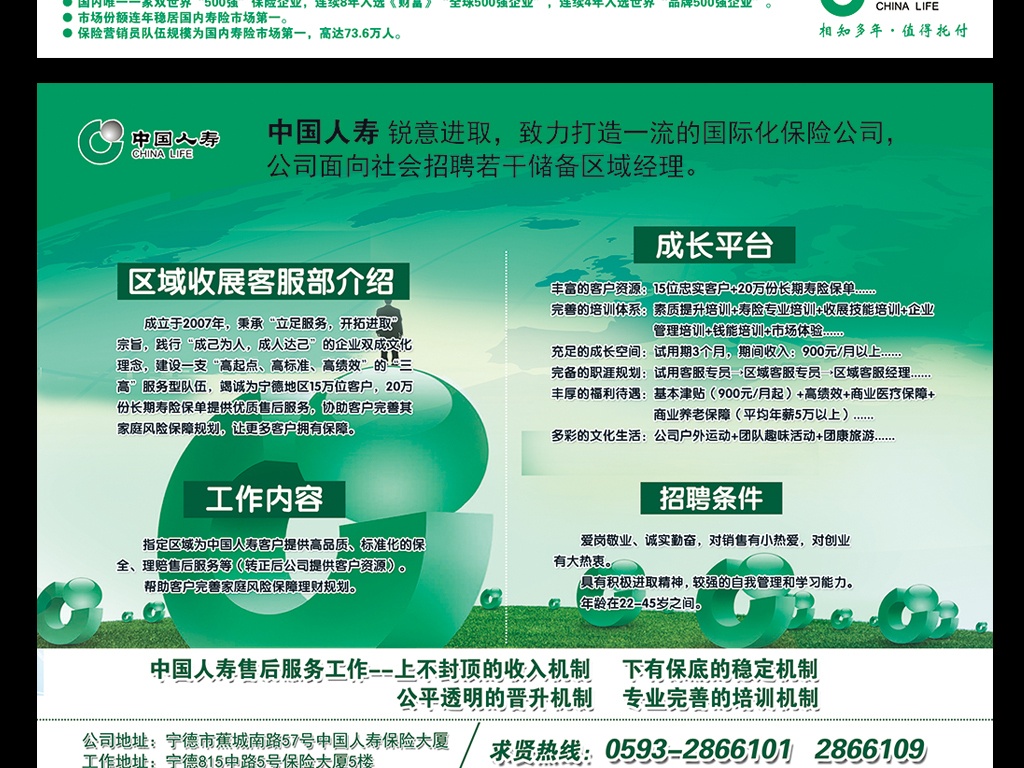 中国人寿招聘单页DM海报