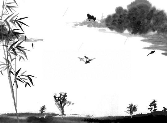 水墨山水 鱼 竹子