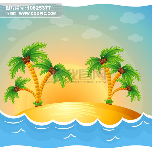 原创设计卡通海边小岛日出
