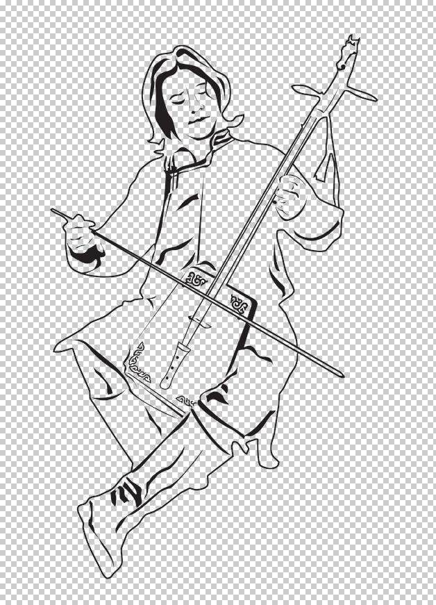 线描蒙古马头琴手图片