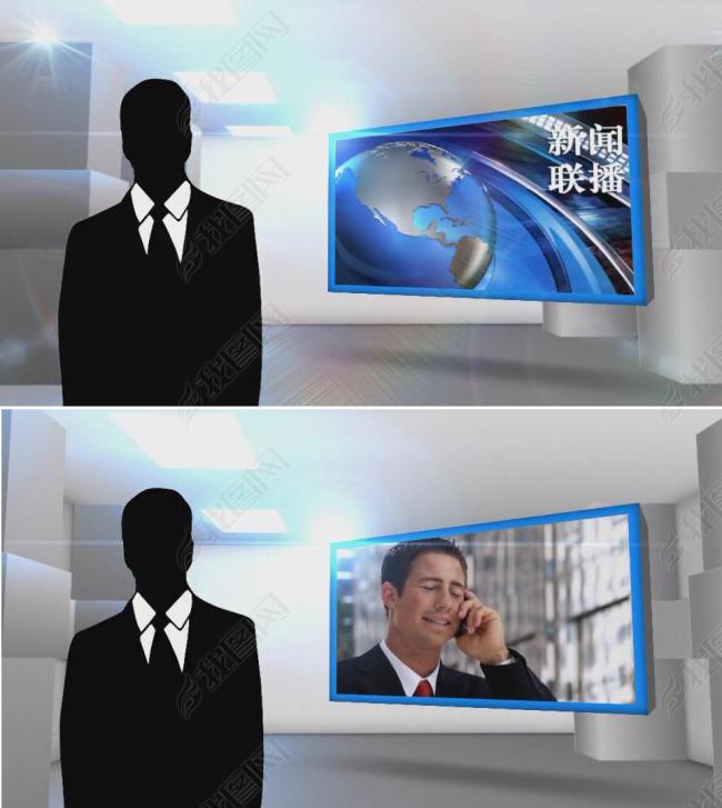 虚拟三维立体3d演播室背景开场ae模板