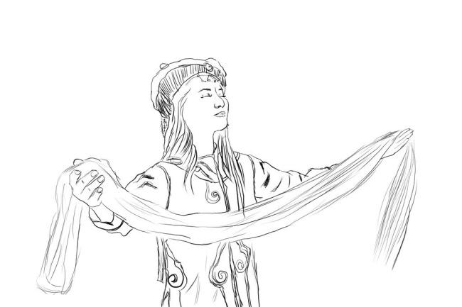 献哈达的蒙古族女人手绘图片
