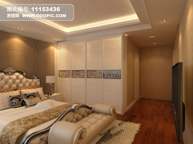 石材玻璃电视背景墙 带阳台的卧室