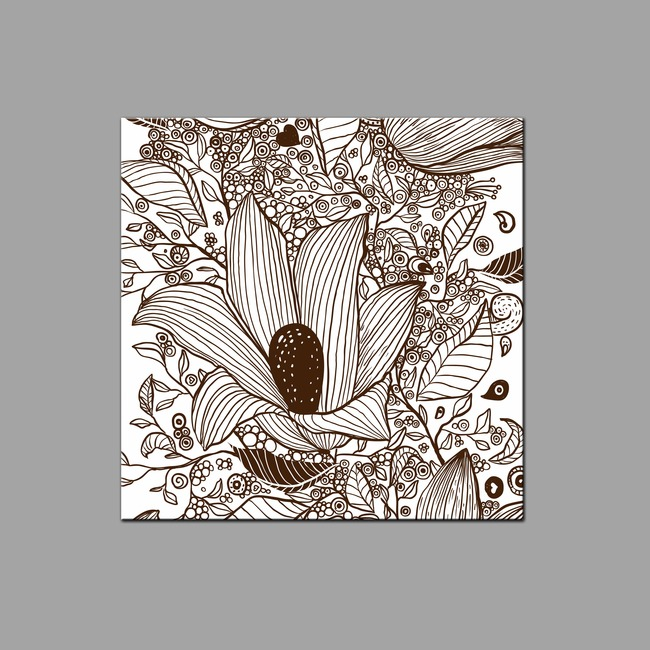 手绘复古花纹无框画图片下载psd素材-文化艺术图案-我