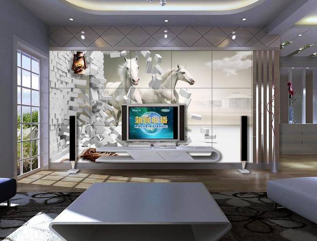 骏马3d立体创意空间装饰电视背景墙