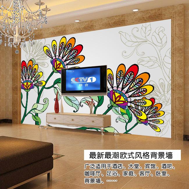 欧式手绘花电视背景墙图片
