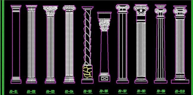 齐全的室内欧式壁炉罗马柱浮雕cad图库图片