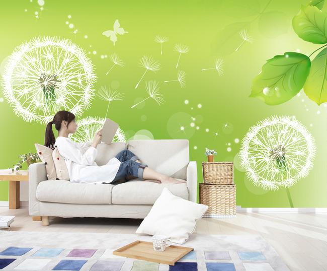 蒲公英绿色电视背景墙