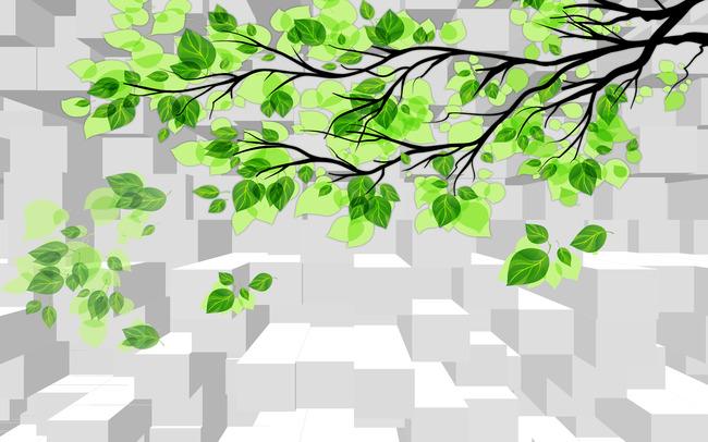 绿色树叶电视背景墙装饰画图片