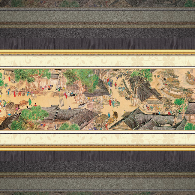大型古典街道彩绘背景墙