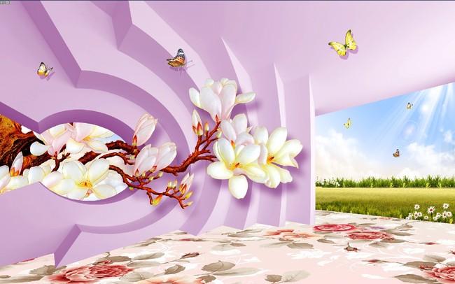 客厅3d花草风景画电视背景墙图片图片
