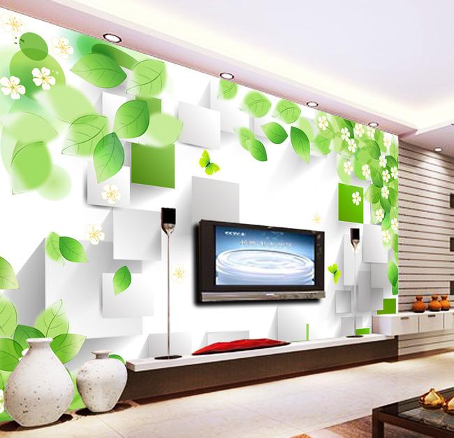 绿叶小花3d电视背景墙装饰画