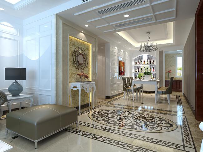 白色简欧客厅餐厅效果图max模型图片
