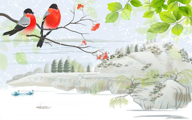 3d花鸟报春图山水画