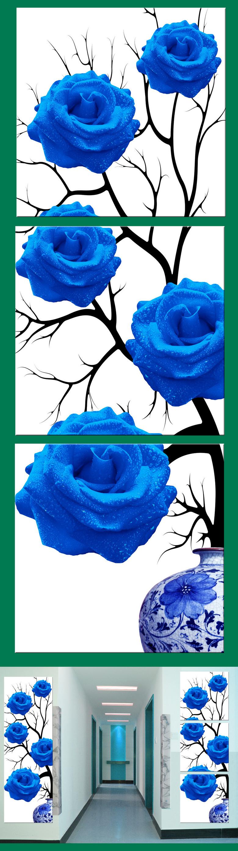 简约青花瓷玄关蓝玫瑰无框画竖图