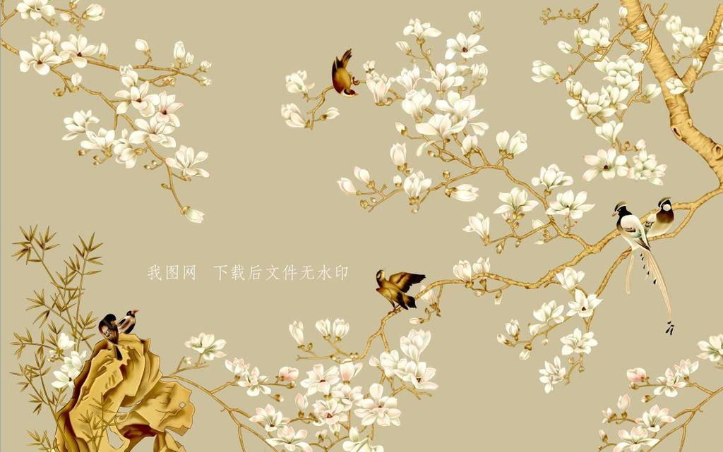 手绘花鸟图简约背景墙
