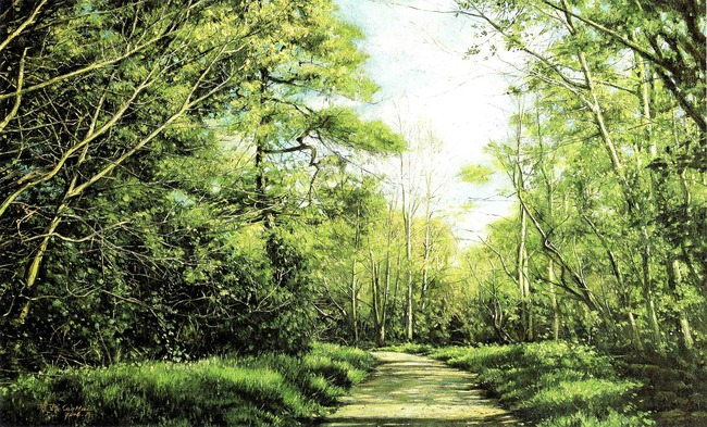 高清油画手绘森林风景装饰画