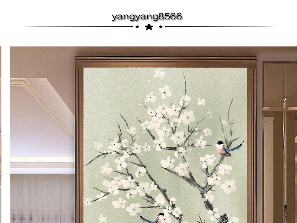 工笔梅花新中式玄关新中式装饰画图片
