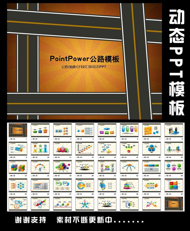 公路抽象动态PPT模板图表设计下载