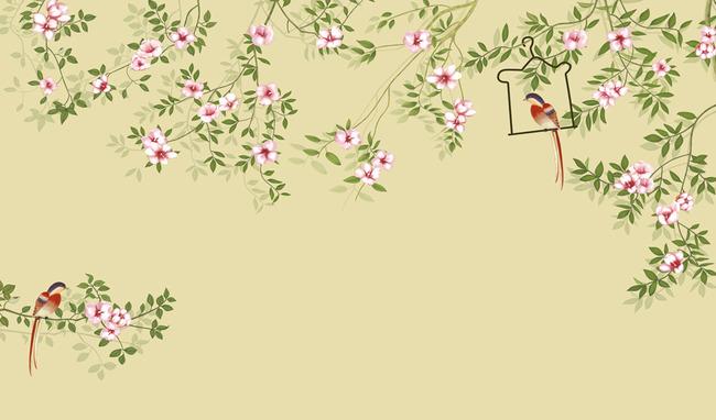 高清手绘花鸟客厅背景墙壁画