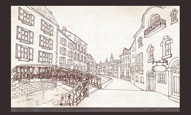 简笔画城市背景墙