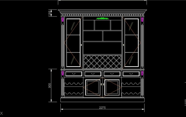 cad实木酒柜设计图平面图下载(图片3.10mb)_家居用品
