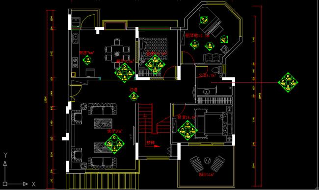 别墅精品cad施工图附带效果图平面设计图下载(图片16.