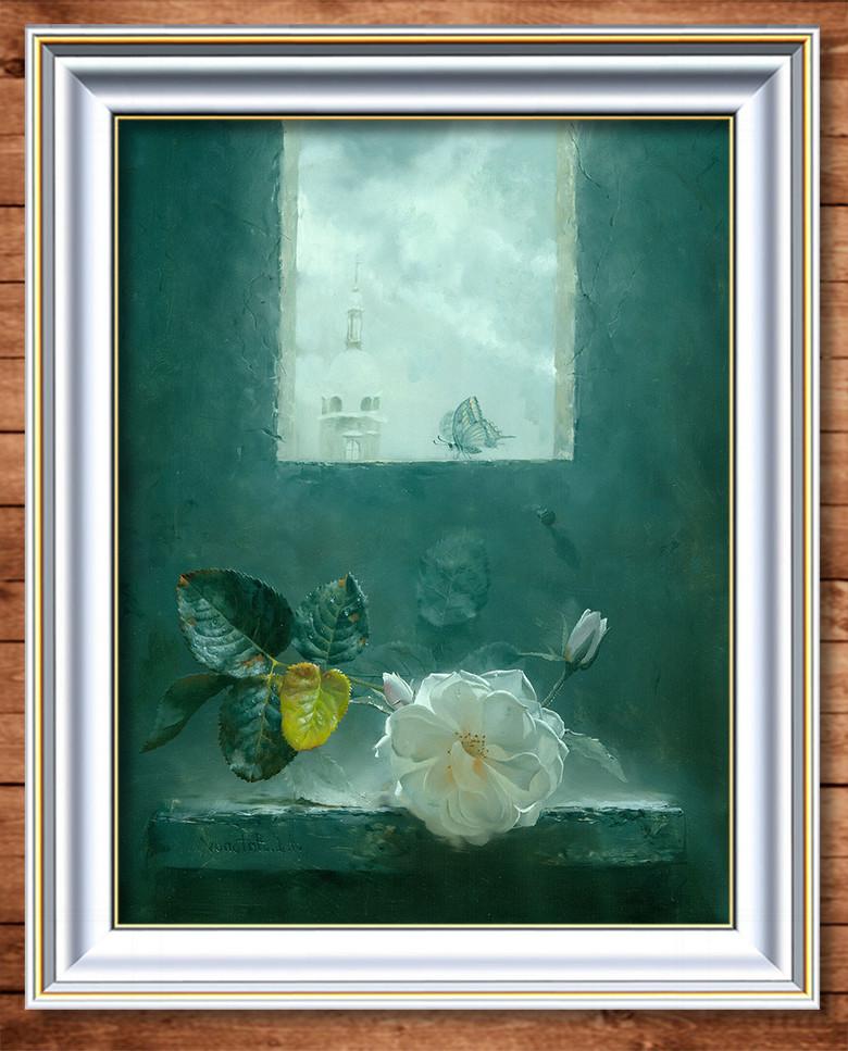 一朵白色玫瑰花超写实主义油画图片