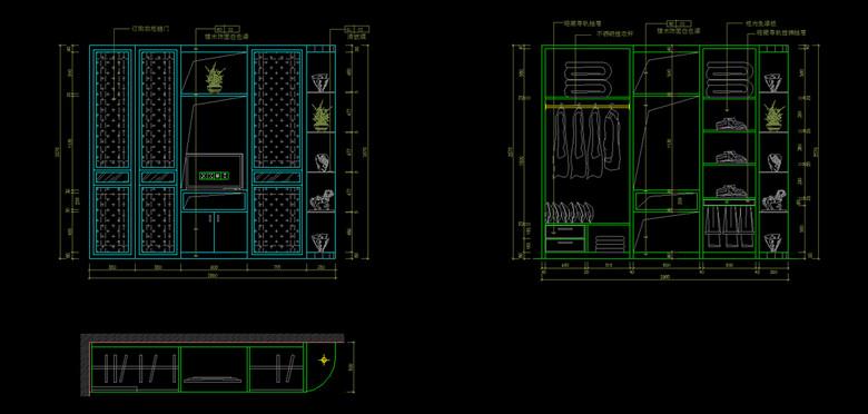cad主臥衣柜施工圖紙平面設計圖下載(圖片0.16mb)_cad圖片