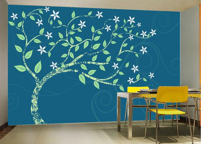 手绘梦幻树电视背景墙