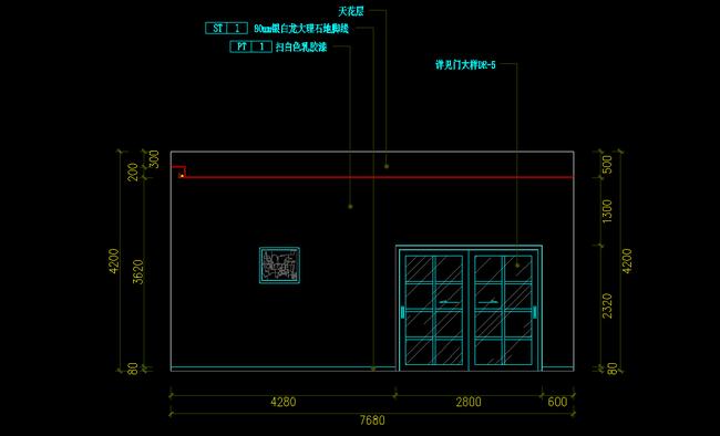 推拉门立面图cad平面设计图下载(图片0.20mb)_工装cad