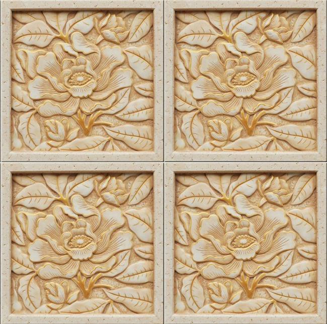我图网提供独家现代时尚风格石料浮雕花朵牡丹图案背景墙素材下载图片