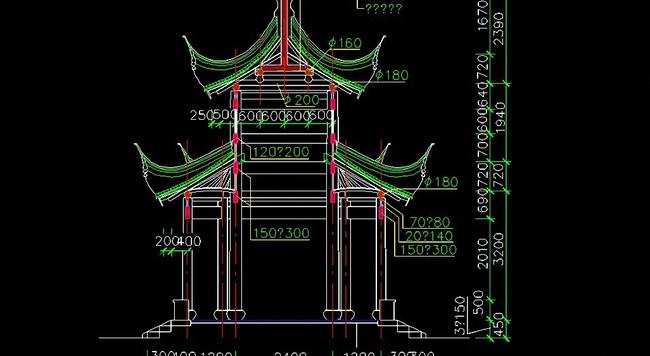 古建筑八角亭cad设计图之二