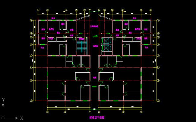 某中高层公寓平面图建筑施工cad图纸