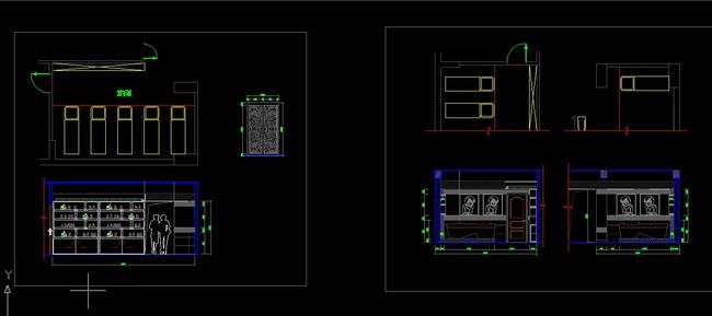小型会所工装室内装修cad施工设计图纸