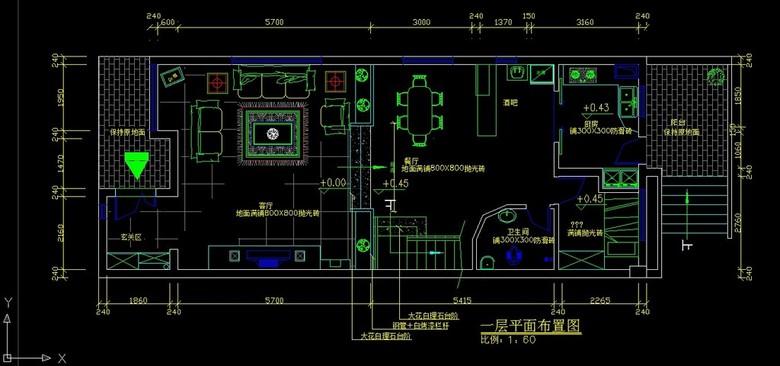 小户型别墅室内装修CAD施工设计图纸