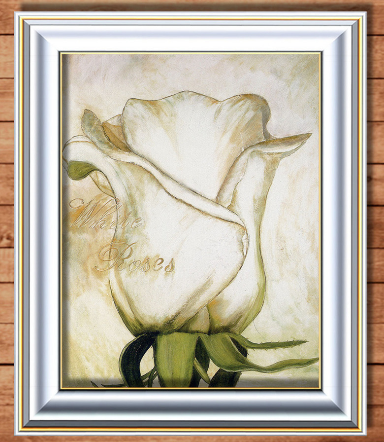 一朵白玫瑰装饰风格油画图片