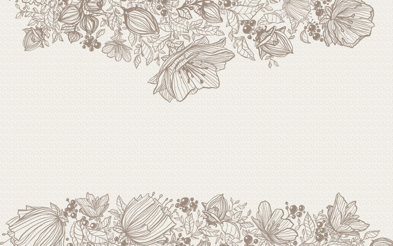 手绘线描花卉卧室背景墙图片