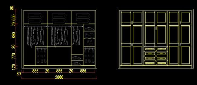 衣柜cad设计图集