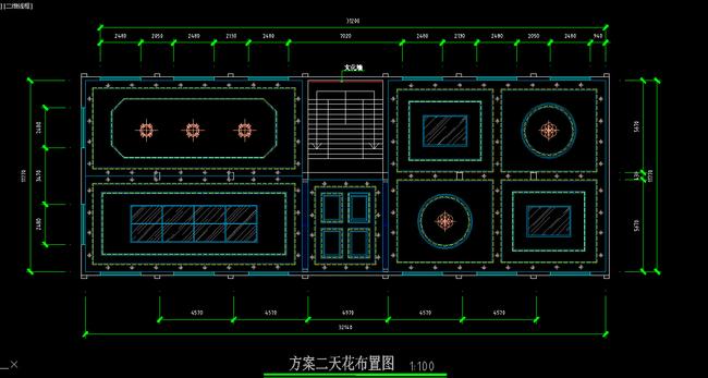 办公空间平面天花布置图