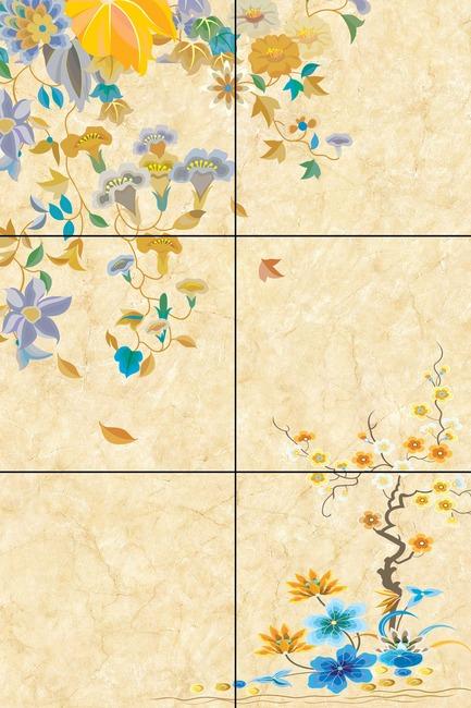 手绘花朵电视背景墙装饰画图片设计素材_高清psd模板