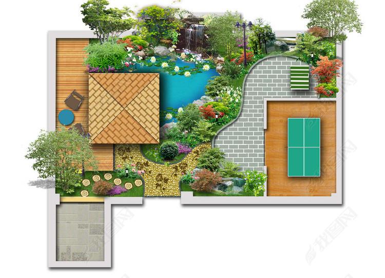 小区景观绿化彩色平面图PSD分层方案6