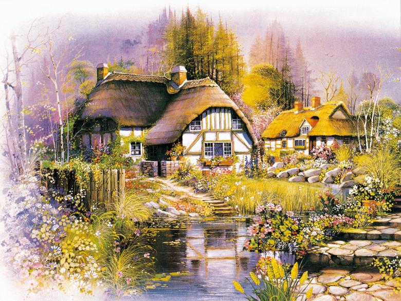 唯美童话世界油画图片森林木屋小溪油画