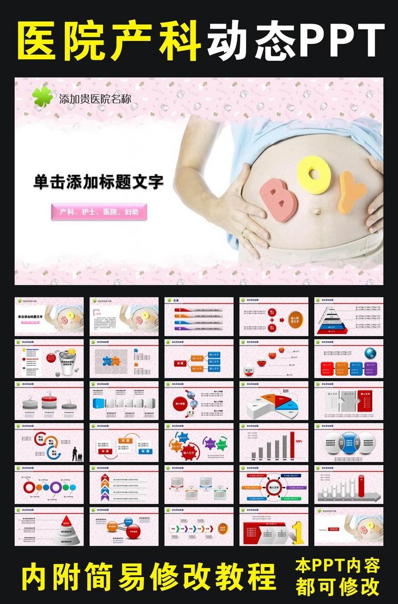 医院妇产科产妇动态ppt模板图片素材
