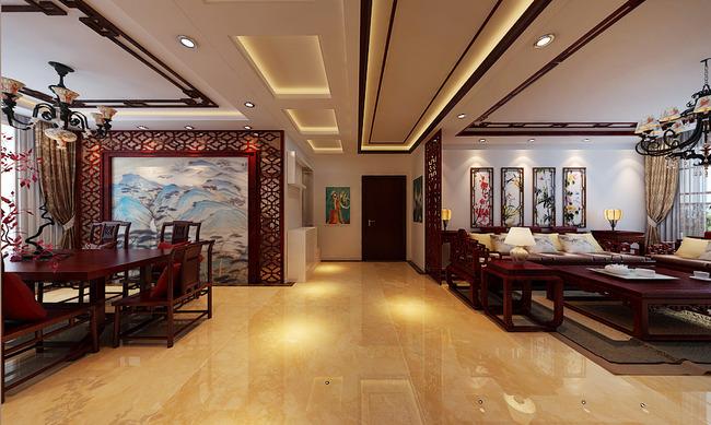 新中式红木家具3d模型材质灯光