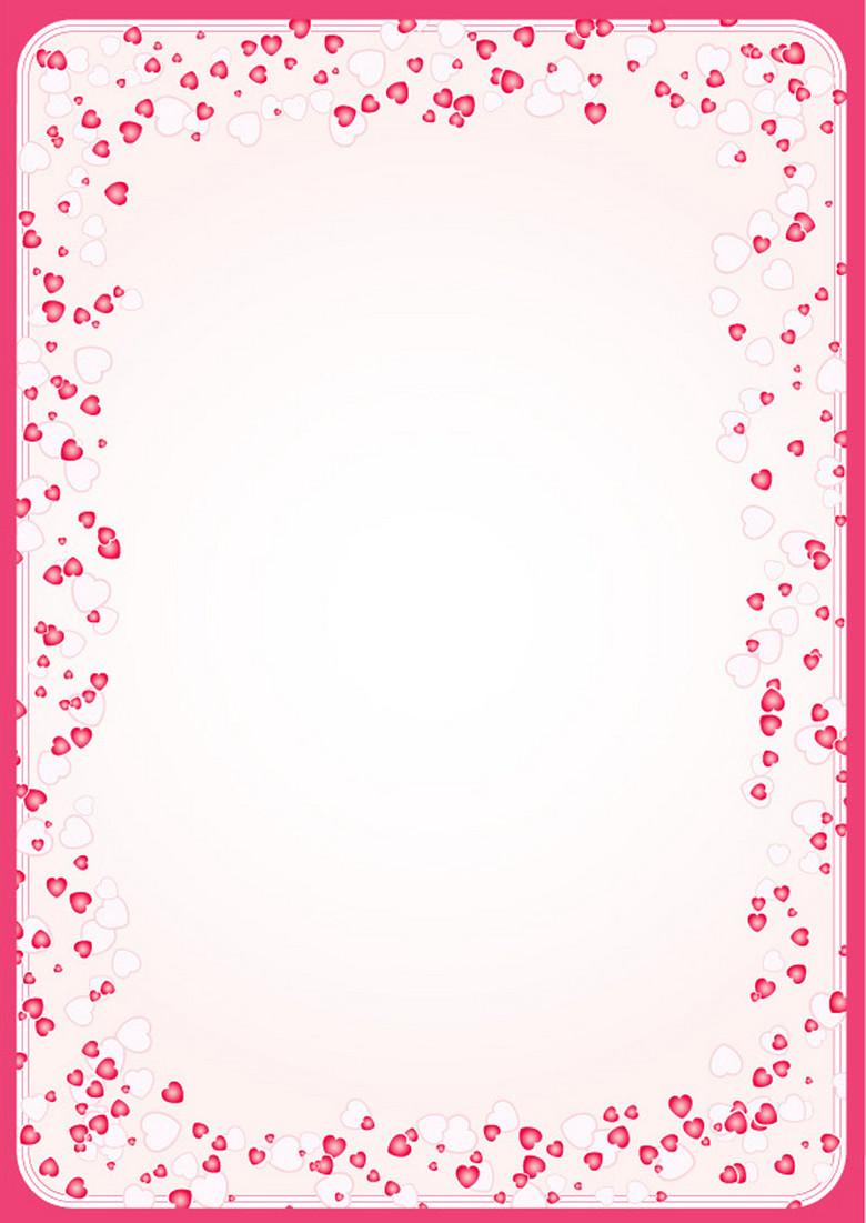 爱心花边信纸背景 12505390 Word模板图片